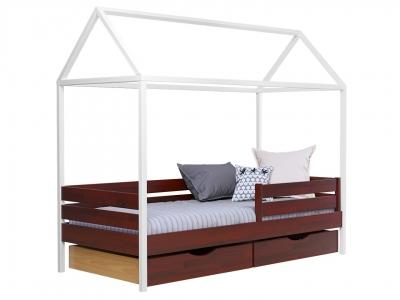 Кровать Амми щит красное дерево, с ящиками, планкой и белыми ногами