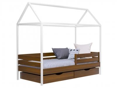 Кровать Амми массив 103 с белыми ногами с ящиками и двойной планкой