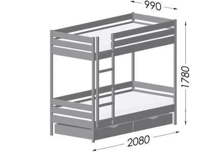 Иллюстрация габаритов Кровать Дуэт Эстелла на примере размера 90x200 (см).