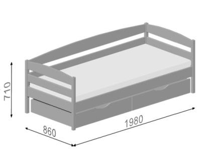Иллюстрация габаритов Кровать Нота Плюс Эстелла на примере размера 80x190 (см).