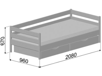 Иллюстрация габаритов Кровать Нота Эстелла на примере размера 90x200 (см).